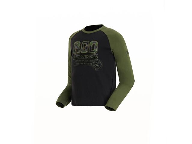Regatta Wylie Longsleeve Shirt Jongens, black/cypress green